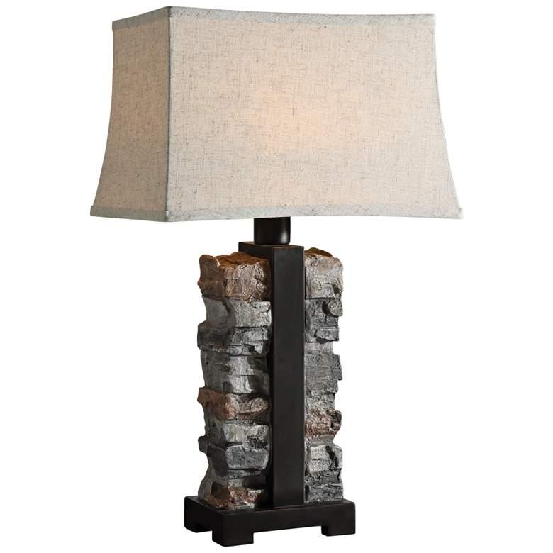 Uttermost Kodiak Stacked Stone Concrete Outdoor Table Lamp