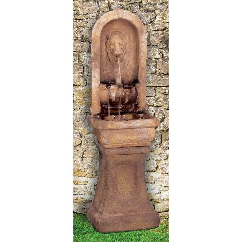 """Henri Studio Lion Alcove 65""""H Gardenstone Outdoor Fountain"""
