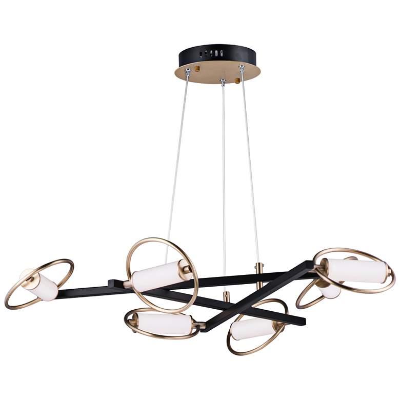 "ET2 Flare 38 1/4""W Black and Soft Gold 6-Light LED Pendant"