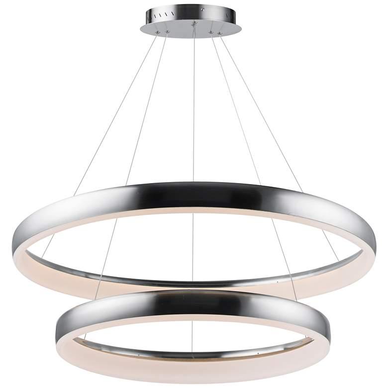 """ET2 Innertube 31 1/2"""" Wide Satin Nickel 2-Ring LED Pendant"""