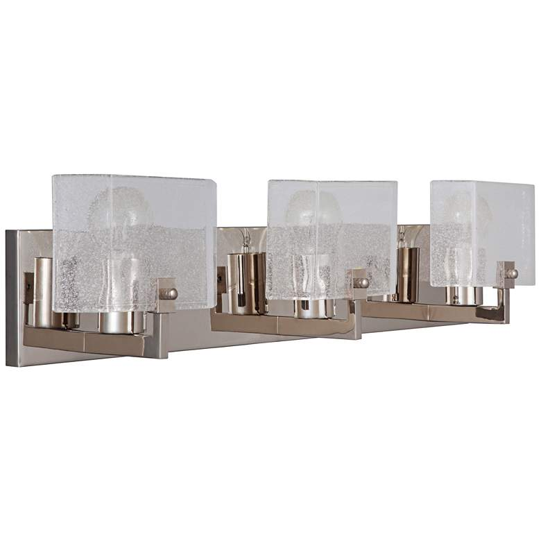 """Trouvaille 27"""" Wide Polished Nickel 3-Light Bath Light"""