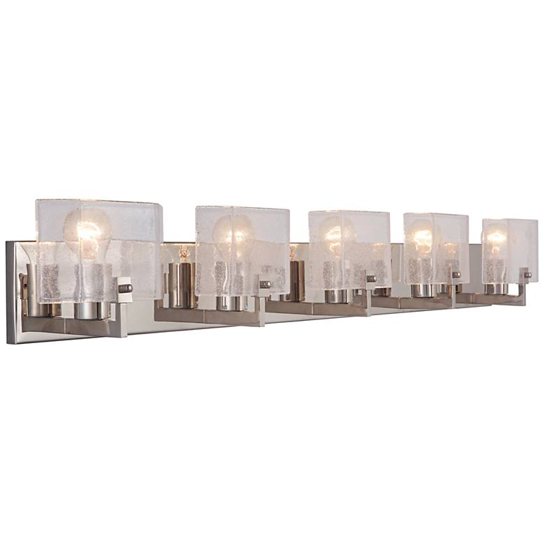 """Trouvaille 42 1/2"""" Wide Polished Nickel 5-Light Bath Light"""