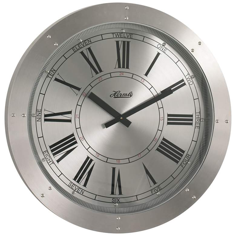 """Hermle Crescent Spun Silver 30"""" Round Gallery Wall Clock"""