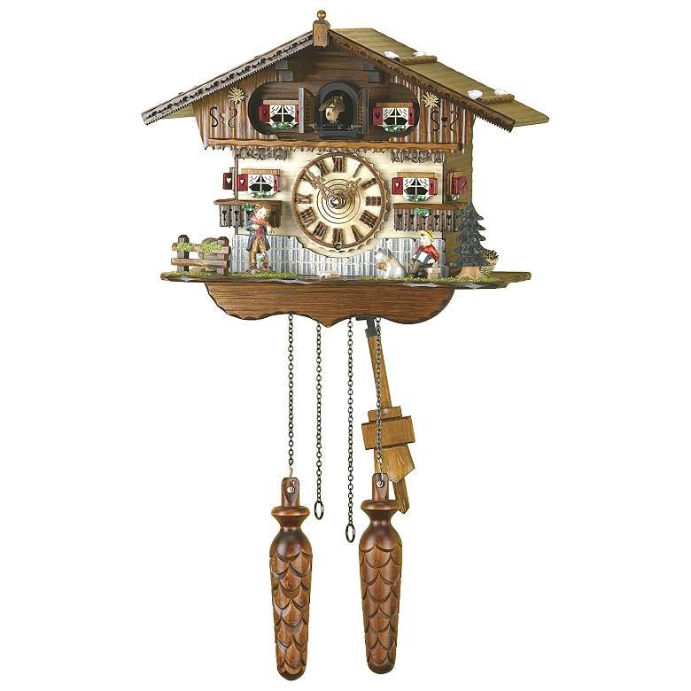 "Hermle Freiburg Wood 21"" High Cuckoo Wall Clock"