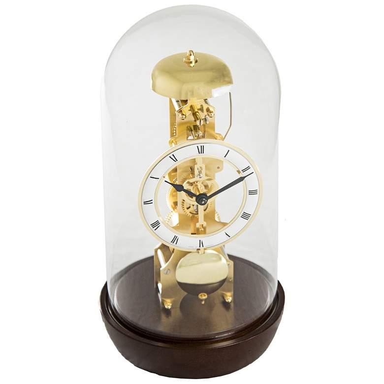 "Hermle Bronx Walnut 12"" High Table Clock"