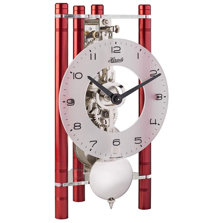 "Hermle Lakin Red 7 1/2"" High Triangular Pendulum Table Clock"
