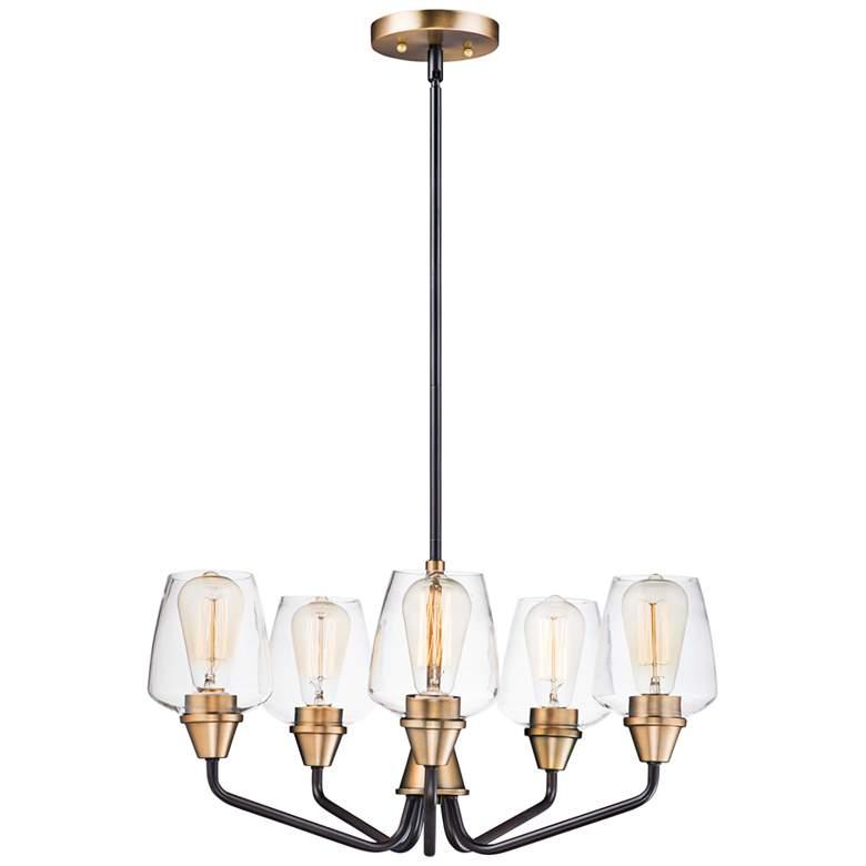 "Maxim Goblet 23"" Wide Bronze and Brass 5-Light Chandelier"