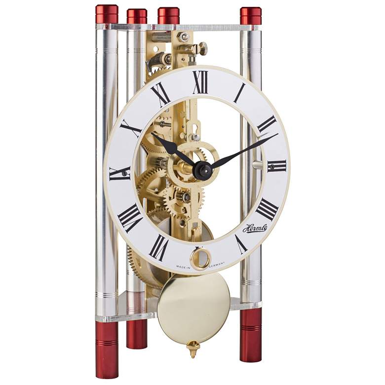 """Hermle Lakin Red and Silver 7 1/2""""H Triangular Table Clock"""