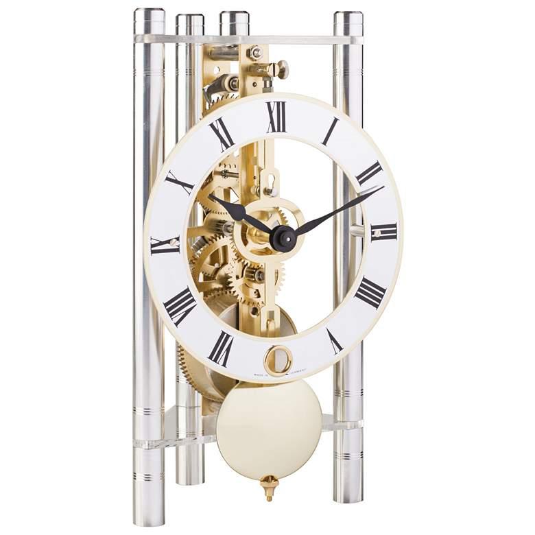 """Hermle Lakin Silver w/ Roman Metal Dial 7 1/2""""H Table Clock"""