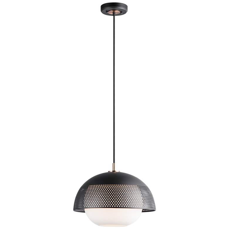 "Maxim Perf 14 1/4"" Wide Black and Satin Nickel Pendant Light"