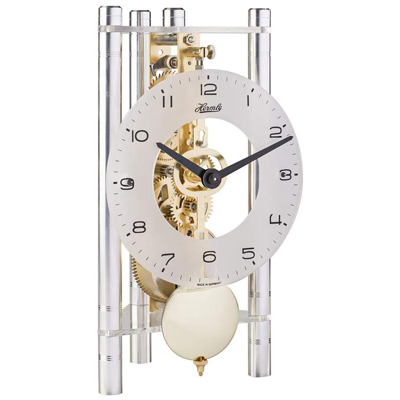 """Hermle Lakin Silver and Brass Pendulum 7 1/2""""H Table Clock"""