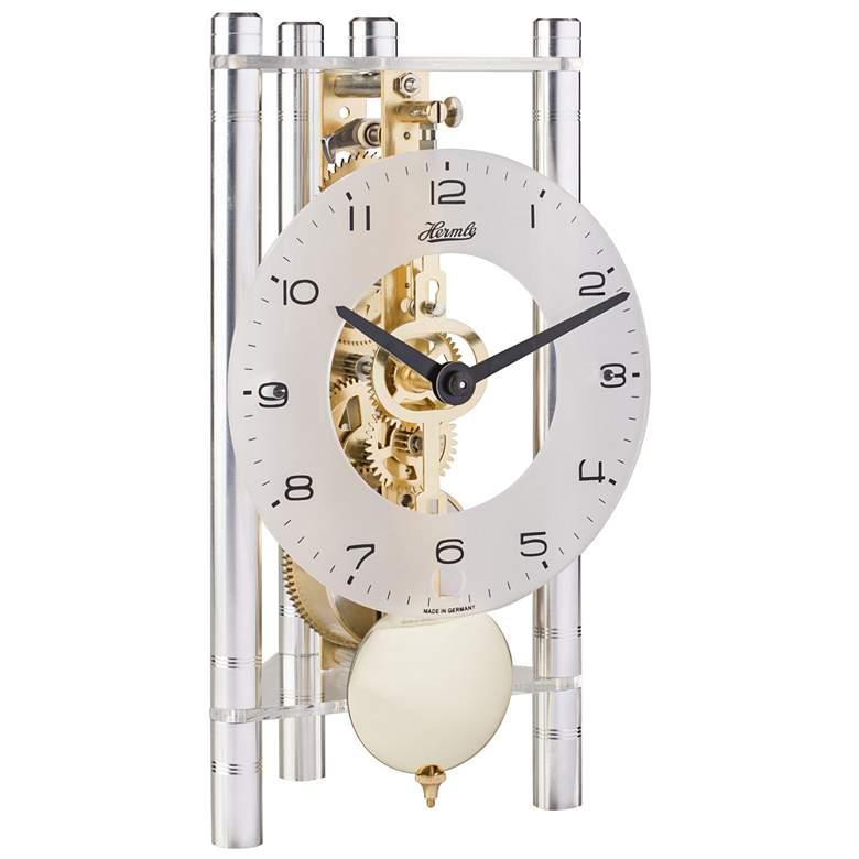 "Hermle Lakin 7 1/2"" High Silver Brass Pendulum Table Clock"