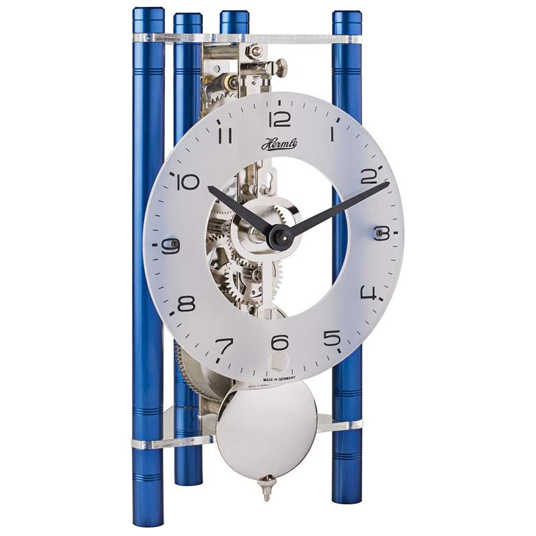"Hermle Lakin Blue 7 1/2"" High Triangular Table Clock"