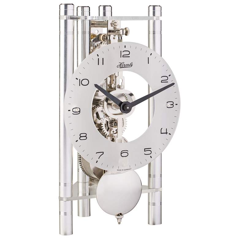 """Hermle 7 1/2"""" High Silver Dial Mechanical Motion Table Clock"""