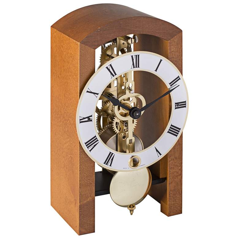 "Hermle Patterson Light Cherry 7"" High Table Clock"