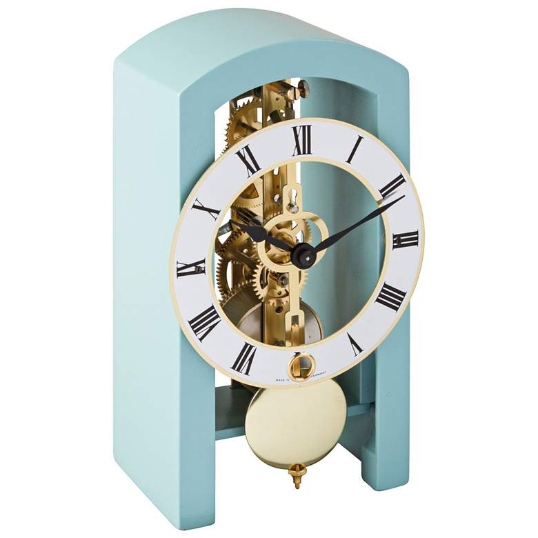 """Hermle Patterson Light Blue 7"""" High Table Clock"""