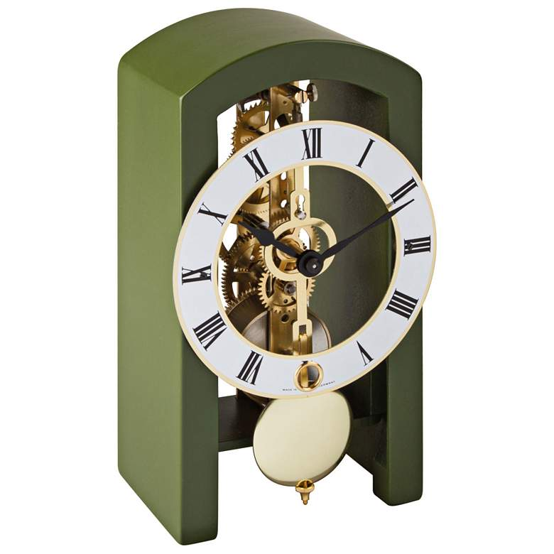 "Hermle Patterson Dark Green 7"" High Table Clock"