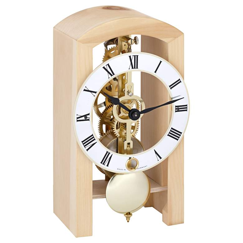 "Hermle Patterson Ice Beech 7"" High Table Clock"