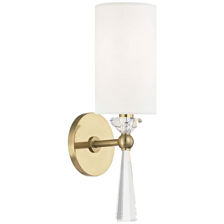 "Hudson Valley Birch 14 3/4"" High Aged Brass Wall Sconce"