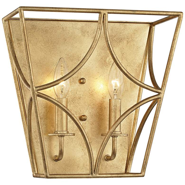 "Hudson Valley Green Point 12""H Gold Leaf 2-Light Wall Sconce"