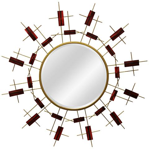 """Red Star Red and Gold 41 1/4"""" Round Oversized Wall Mirror"""