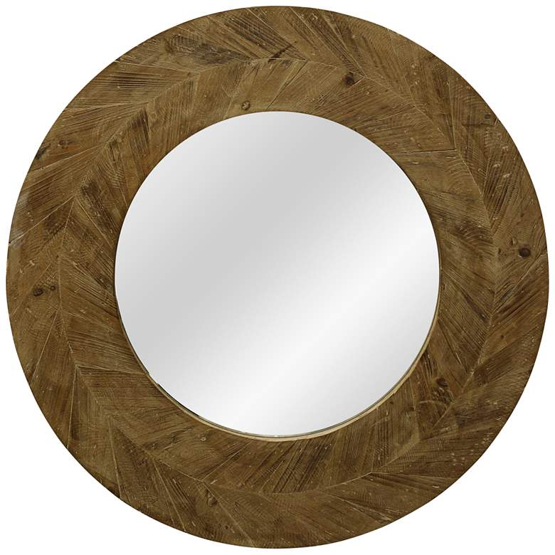 "Arrow Natural Wood 31 1/2"" Round Wall Mirror"