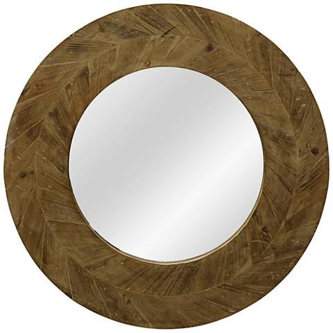 "Arrow Natural Wood 31 1/2"" Round Wall Mirror"