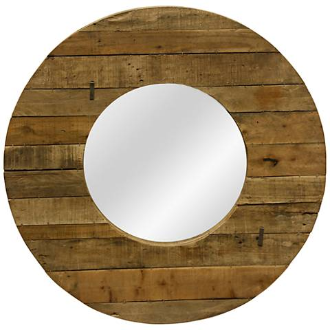 """Slatted Natural Wood 35 1/2"""" Round Wall Mirror"""