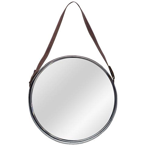 "Silver and Brown Leather Belted 19 3/4"" Round Wall Mirror"