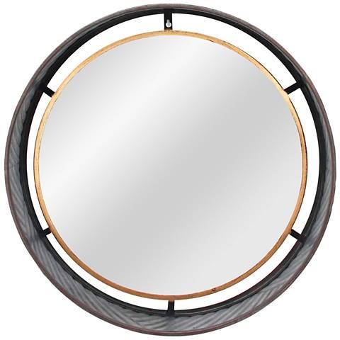 "Galvanized Gold Large 19 3/4"" Round Wall Mirror"