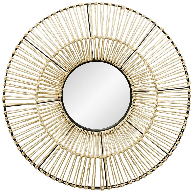 """Black and Natural Woven 36"""" Round Wall Mirror"""