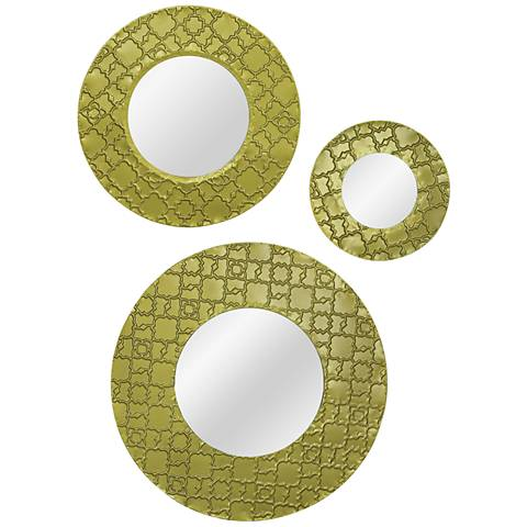 "Tahitian Gold Patterned 20"" Round Wall Mirror Set of 3"