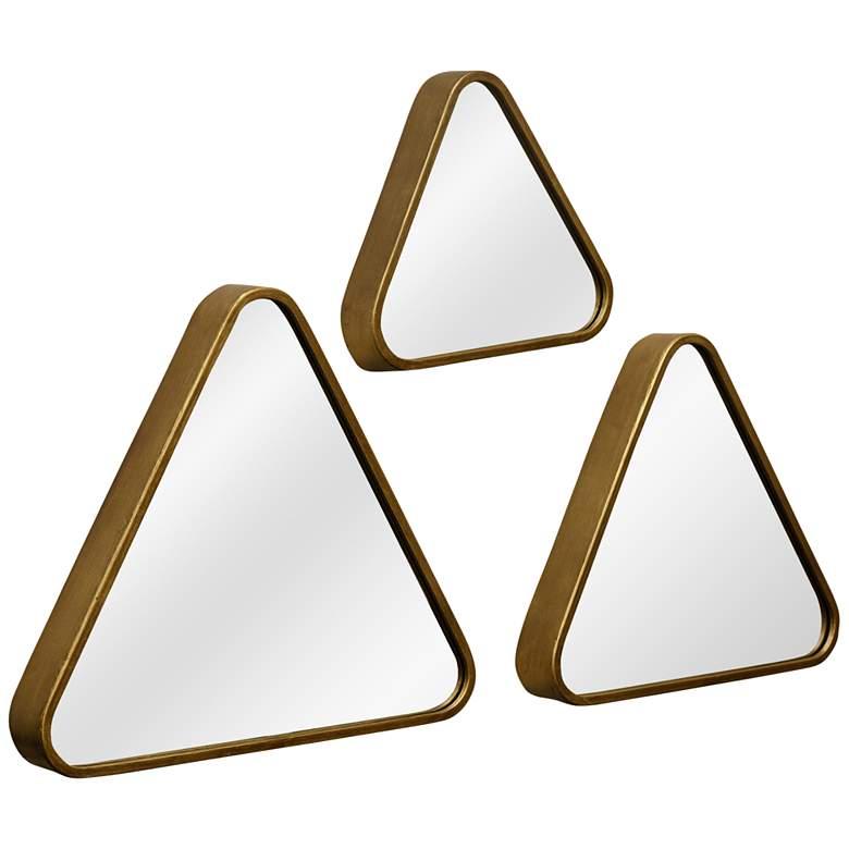 "Gold 15 1/2"" x 17 1/4"" Triangular Wall Mirrors Set of 3"