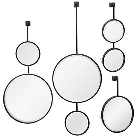 "Gray Metal 15"" x 42"" Beveled Droplet Wall Mirror Set of 4"