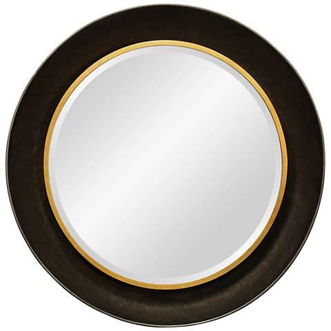 """Worldly Dark Brown 34 3/4"""" Round Beveled Wall Mirror"""