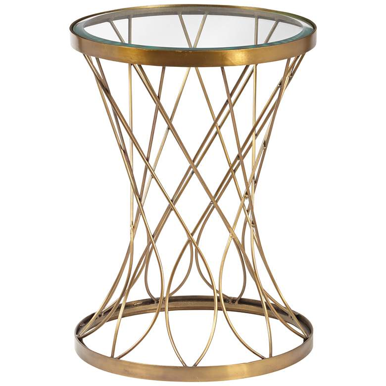 """Concave 14"""" Wide Brass Modern Accent Table with Glass Top"""