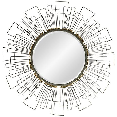 """Metal and Gold Wired 31 1/2"""" Round Beveled Wall Mirror"""