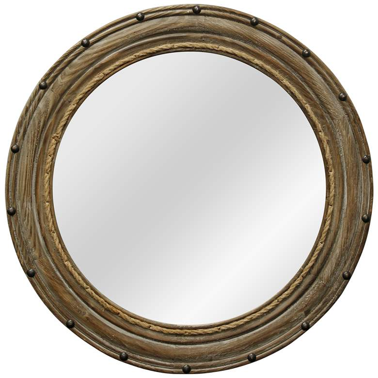 "Rope and Rivets Natural Wood 26 1/2"" Round Wall Mirror"