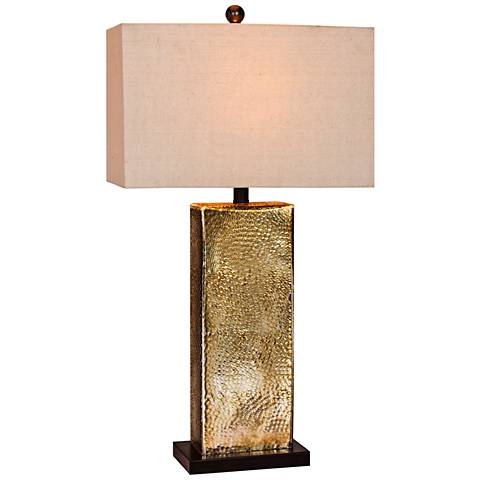 Hammertone Brown Mercury Glass and Brass Pillar Table Lamp