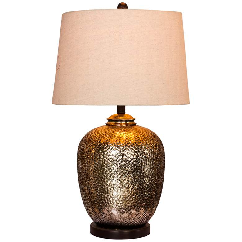 Hammertone Brown Mercury Glass and Bronze Pot Table Lamp