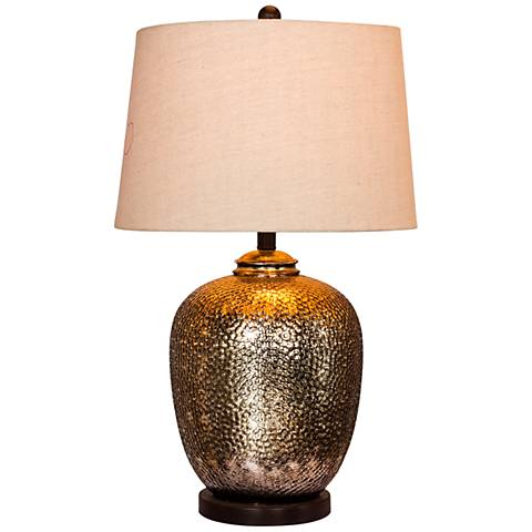 Hammertone Brown Mercury Glass and Bronze Pot Table Lamp