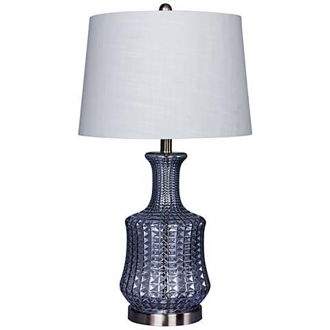 Modern Riveted Light Blue Glass Genie Bottle Table Lamp
