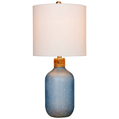 Coastal Bottle Frosted Blue Glass Table Lamp