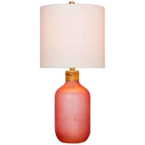 Coastal Bottle Frosted Pink Glass Table Lamp