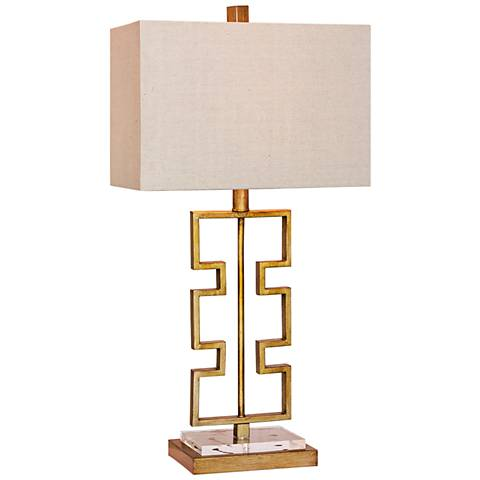 Stacked Modern Cut-Out Antique Gold Metal Table Lamp