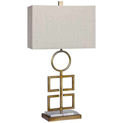 Totemic Modern Cut-Out Antique Gold Metal Table Lamp