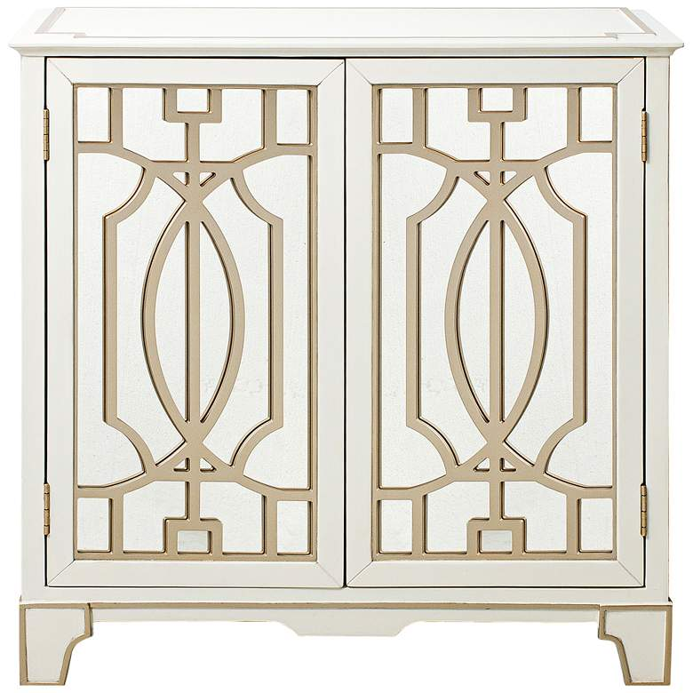 """Overlay 32"""" Wide Gold-White and Mirrored 2-Door Chest"""