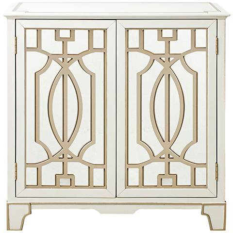 Champagne Gold Overlays Painted White Mirrored 2-Door Chest