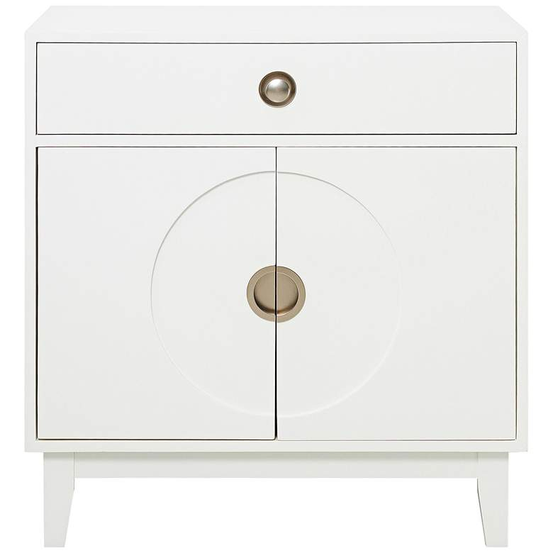 "Luxe 32"" Wide White Gloss 2-Door Wood Accent Chest"