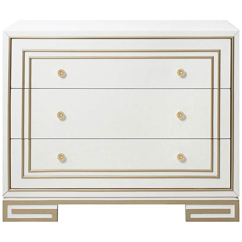 """Luxe 38"""" Wide Champagne Gold and White 3-Drawer Accent Chest"""